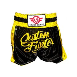 Pantalones Cortos MUAY THAI Shorts CUSTOM FIGHTER RETRO NEGRO AMARILLO