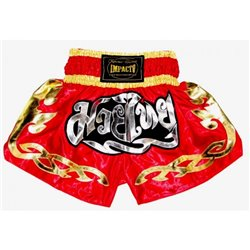 Pantalones Cortos Muay Thai Shorts K1 IMPACTO Red Golden