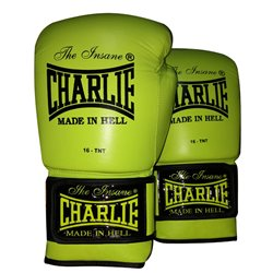 Boxing Gloves CHARLIE LIME Leather Training Muaythai Velcro